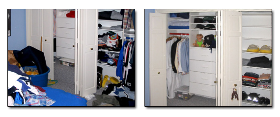 Closet before and after help organizing solutions