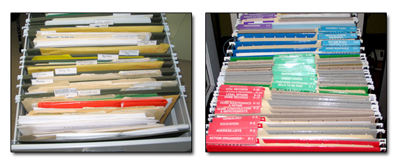 files before and after a professional office organizer helped