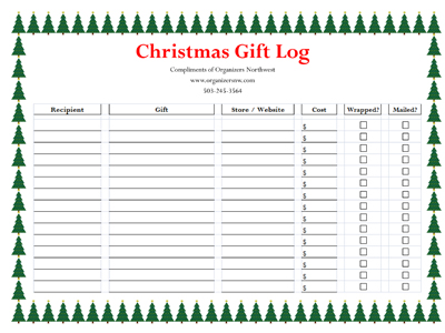 Free Printable Christmas Gift Log from the organizing pros