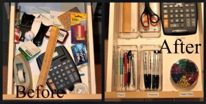 A before and after drawer using lean 5s office organization