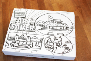 box showing organizing solutions for children's artwork