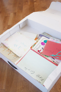 Inside of box that organizes children's artwork