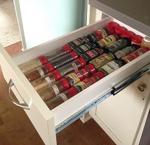 organize your spices in a drawer