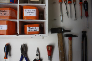 well organized hanging tools