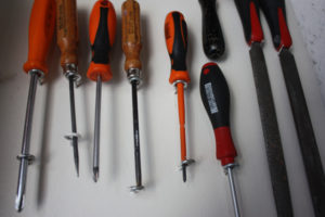 Organize the long, skinny tools like screwdrivers!