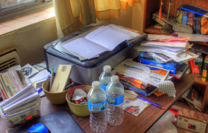 organizer your messy desk and Shred those old papers!