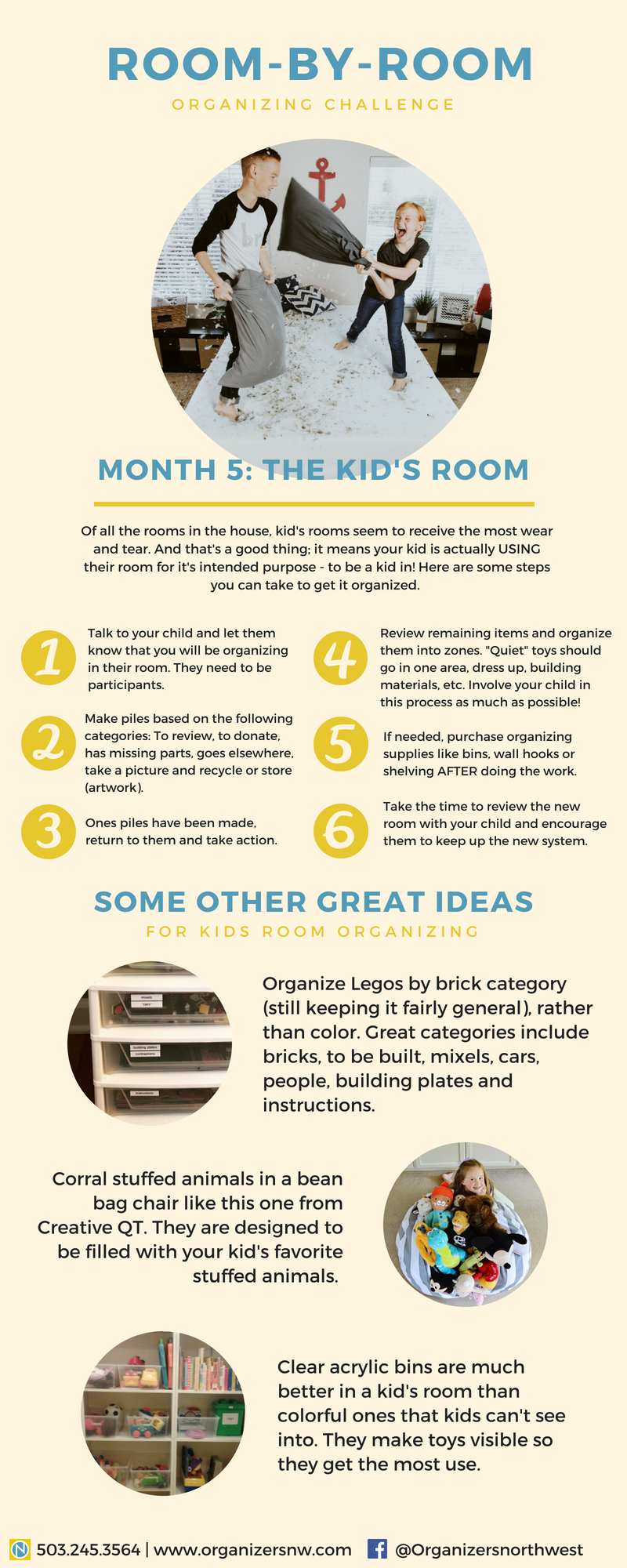 Room-by-room Organizing Challenge Kids Room Infographic