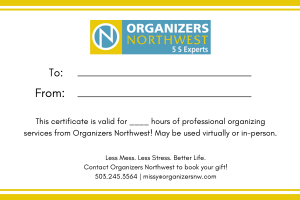 Gift certificate from Organizers Northwest in Portland, Oregon