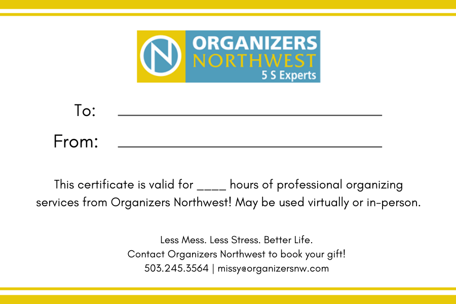 Gift certificate from Organizers Northwest