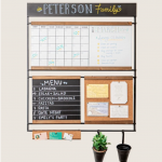 command center with a chalkboard, corkboard, hanging space and a calendar